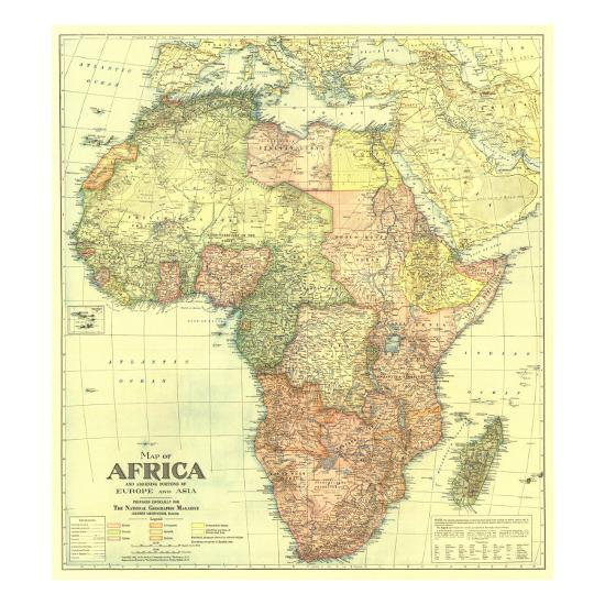 1922 Africa Map With Portions Of Europe And Asia Art Print By