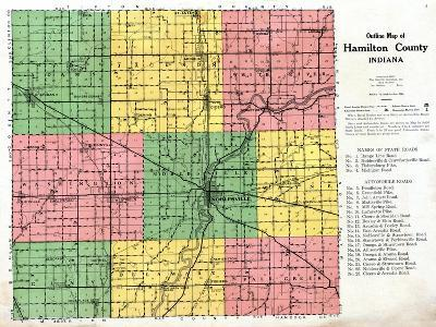 1922, Hamilton County Outline Map, Indiana, United States--Giclee Print