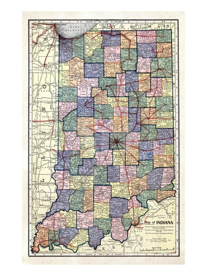 1922, Indiana State Map, Indiana, United States Giclee Print by | Art.com