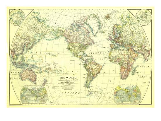 1922 World Map Art Print by National Geographic Maps | Art.com on