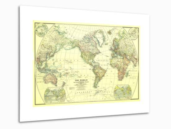1922 World Map-National Geographic Maps-Metal Print