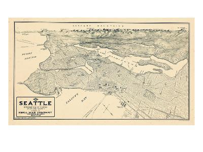 1925, Seattle Bird's Eye View, Washington, United States--Giclee Print