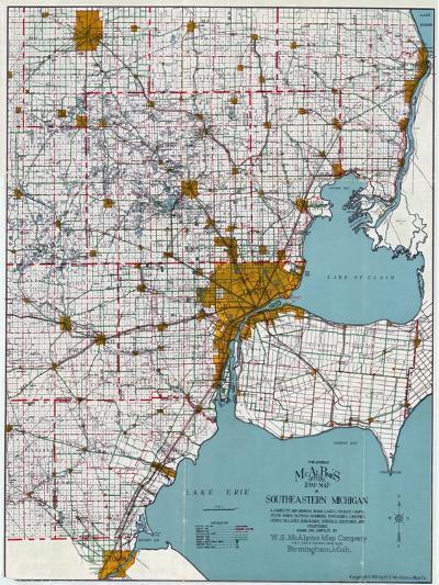 1925, Southeastern Michigan Road Map, Michigan, United States--Giclee Print