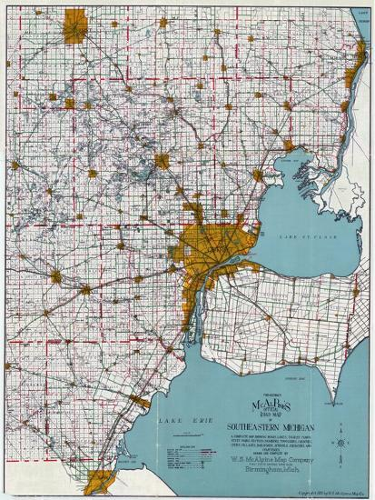 Southeastern Michigan Map.1925 Southeastern Michigan Road Map Michigan United States Giclee