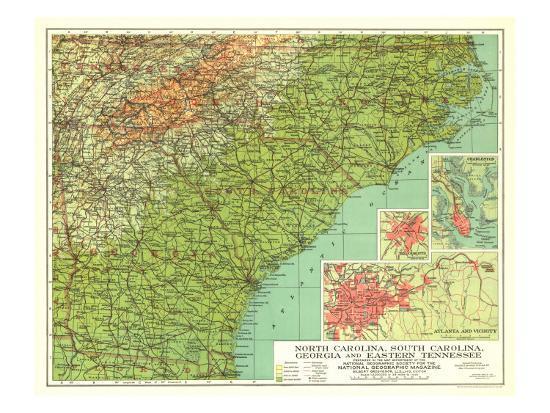 Map Of East Georgia.1926 North Carolina South Carolina Georgia And Eastern Tennessee Map Art Print By National Geographic Maps Art Com