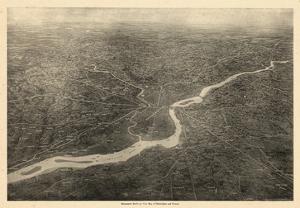 1926, Philadelphia Bird's Eye View, Pennsylvania, United States