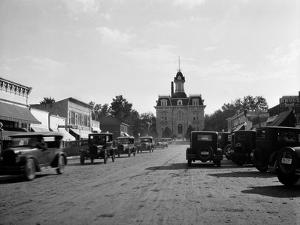 1928 View of Cottonwood Falls Kansas Main Street with Traffic