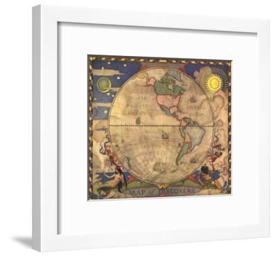 1929 Map of Discovery, Western Hemisphere-National Geographic Maps-Framed Premium Giclee Print