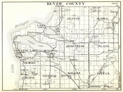 1930, Benzie County, Crystal Lake, Platte, Almira, Homestead, Inland, Gilmore, Blaine, Joyfield, We--Giclee Print