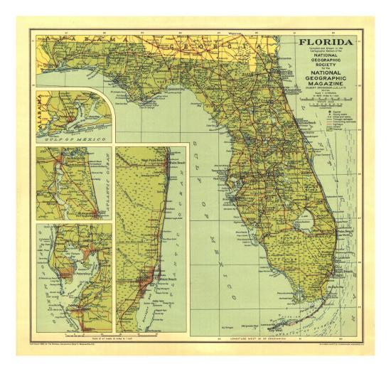 1930 Florida Map-National Geographic Maps-Art Print