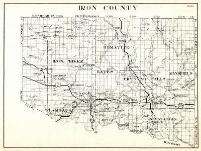 1930, Iron County, Hematite, Iron River, Bates, Crystal Falls, Mansfield, Stambaugh, Mastodon, Arms--Giclee Print