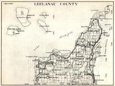 1930, Leelanau County, Empire, Kasson, Solon, Elmwood, Glen Arbor, Cleveland, Centerville, Bingham--Giclee Print