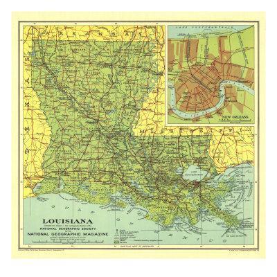 Geographic Map Of Louisiana.1930 Louisiana Map Art Print By National Geographic Maps Art Com