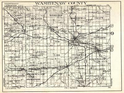 1930, Washtenaw County, Lyndon, Dexter, Webster, Salem, Superior, Ann Arbor, Bridgewater, Saline, M--Giclee Print