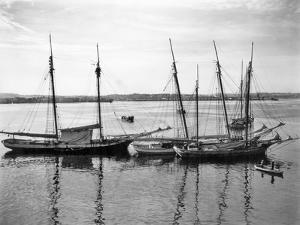 1930s-1940s Sailing Ships at Anchor Havana Harbor Cuba