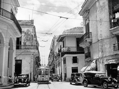1930s-1940s Street Scene Cars Trolley Havana Cuba