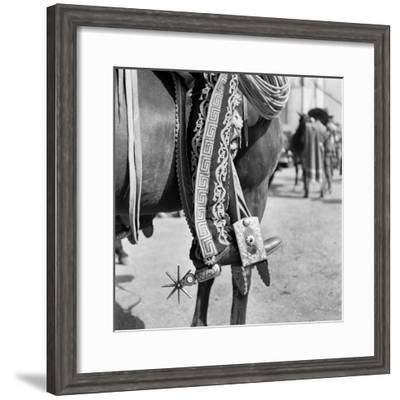 1930s Detail of Traditional Charro Cowboy Costume Embroidered Chaps Spurs Leather Boots in Horse--Framed Photographic Print