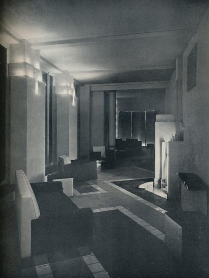 '1930s interior with contemporary lighting', 1930-Unknown-Photographic Print
