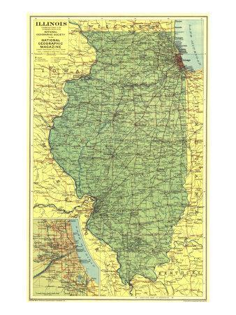 1931 Illinois Map Art Print by National Geographic Maps | Art.com on illinois statehood, illinois travel, illinois maps online, illinois places, illinois usa, illinois colors, illinois water, illinois home, illinois st, illinois people, illinois atlas, illinois state, il state map, rockford il map, illinois animals, illinois history, lincoln park chicago neighborhood map, illinois river towns,