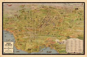 1932, Los Angeles Tourist Map, California, United States