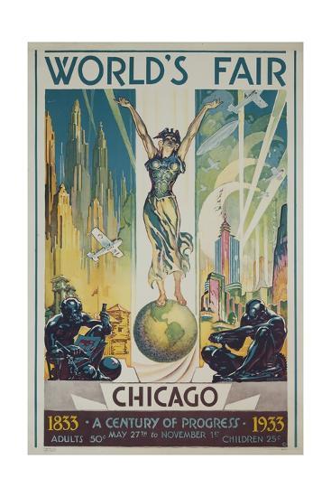 1933 Chicago Centennial World's Fair Poster--Giclee Print