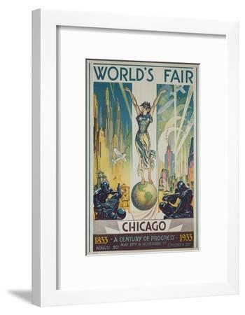 1933 Chicago Centennial World's Fair Poster--Framed Giclee Print