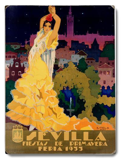 1933 Sevilla Fiesta--Wood Sign