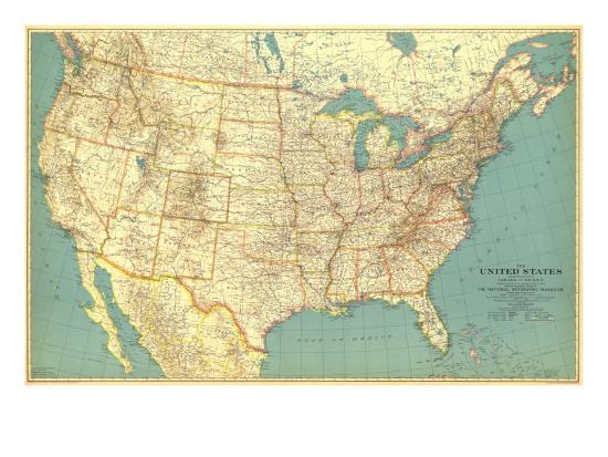 1933 United States of America Map Art Print by National Geographic ...