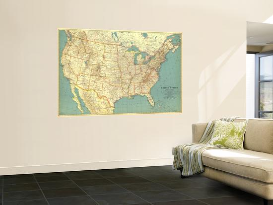 1933 United States of America Map Wall Mural by National Geographic Maps |  Art.com