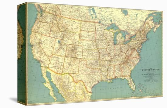 1933 United States of America Map Stretched Canvas Print by National ...