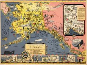1934, Alaska State Map from Steamship Line, Alaska, United States