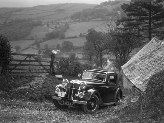 1934 Standard Avon Ten coupe taking part in a Standard Car Owners Club trial-Bill Brunell-Photographic Print