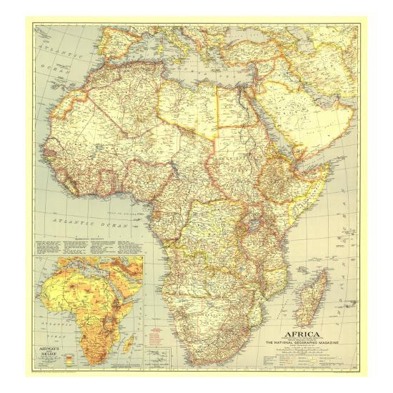 1935 Africa Map Art Print By National Geographic Maps Art Com