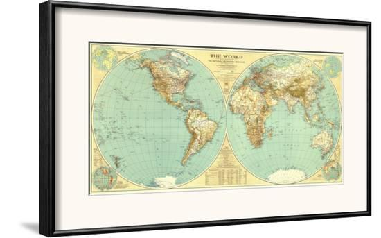 1935 World Map Framed Art Print By National Geographic Maps Art Com