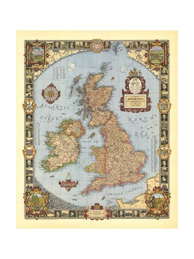 1937 A Modern Pilgrim's Map of the British Isles-National Geographic Maps-Art Print