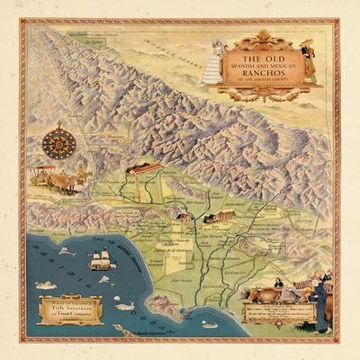 California Decorative Pictorial Wall Map Vintage Historical Art Poster Print