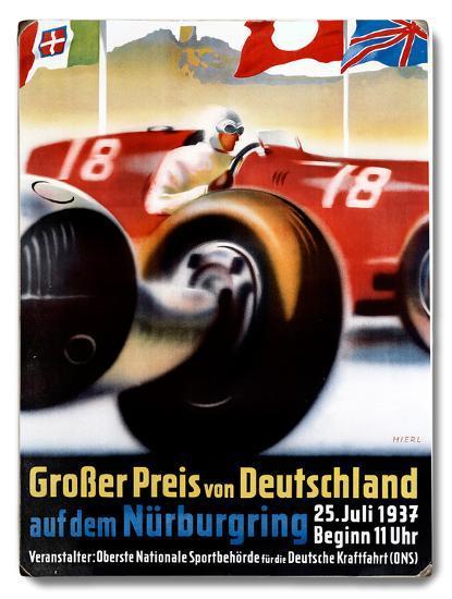 1937 Nurburgring Grand Prix Poster Wood Sign By Art Com