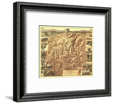 1937 White Mountains of New Hampshire Map-National Geographic Maps-Framed Art Print