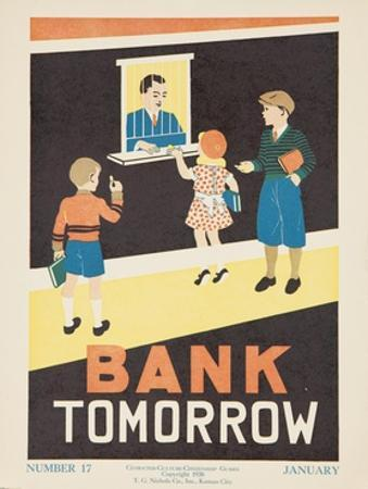 1938 Character Culture Citizenship Guide Poster, Bank Tomorrow