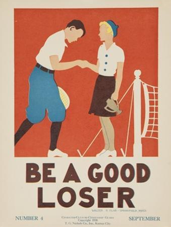 1938 Character Culture Citizenship Guide Poster, Be a Good Loser