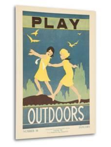 1938 Character Culture Citizenship Guide Poster, Play Outdoors