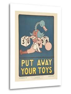 1938 Character Culture Citizenship Guide Poster, Put Away Your Toys
