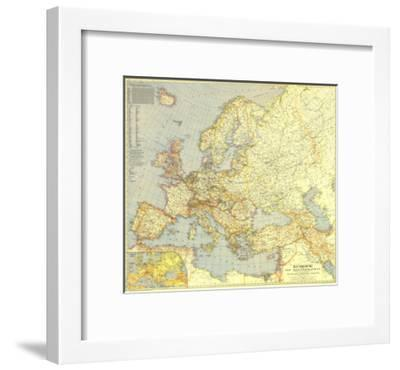 1938 Europe and the Mediterranean Map-National Geographic Maps-Framed Premium Giclee Print