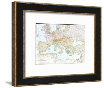 1939 Central Europe and the Mediterranean Map-National Geographic Maps-Framed Art Print