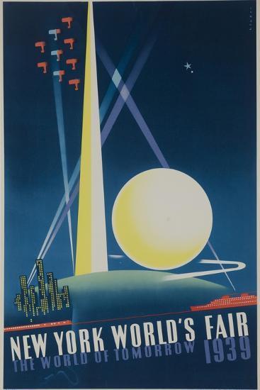 1939 New York World's Fair Poster, the World of Tomorrow, Blue--Giclee Print