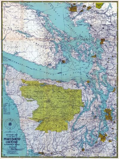 1940, Puget Sound Country 1940c, Washington, United States--Giclee Print