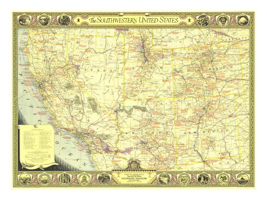 1940 Southwestern United States Map Art Print by National Geographic ...