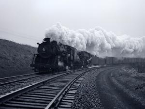 1940s-1950s Speeding Steam Locomotive Passenger Train Near Port Jervis New York