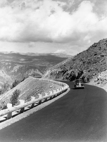 1940s Automobile on Hillside Road Near Yellowstone National Park 11000 Feet Elevation Red Lodge--Photographic Print