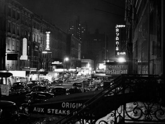 1940s Night Street Scene West 52nd Street Lights from Numerous Clubs and Nightclubs New York--Photographic Print
